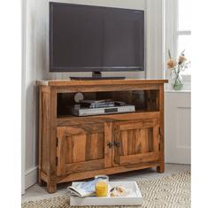 LAKŠMI TV stolek rohový Rami 90x65x50 z indického masivu palisandr, Only stain