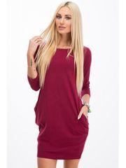 Amando Bordové BASIC šaty s vreckami 9988