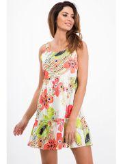 Amando Biele šaty s kvietkami na ramienka 21624