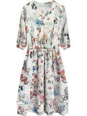 Amando Šifónové šaty s kvetmi 352ART biele