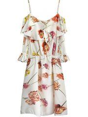 Amando Krémové dámske kvetované šaty 356ART