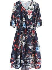 Amando Šifónové šaty s kvetmi 352ART tmavomodré