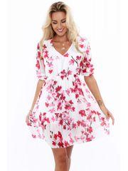 Amando Dámske kvetinové šaty 0106, krémové/bordové
