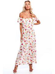 Amando Dámske letné kvetované šaty 6173, krémové/broskyňové