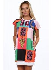 Amando Biele dámske šaty s farebnými vzormi 2201