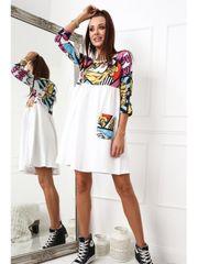 Amando Bavlnené šaty s potlačou biele 2209