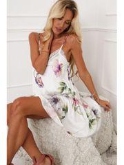 Amando Jemné kvetinové šaty 10240 krémovo-fialové