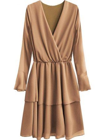 Amando Elegantné šaty s preloženým výstrihom 450ART béžové ONE SIZE