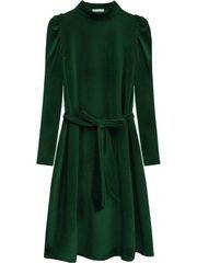 Amando Velúrové šaty s viazaním v páse 487ART zelené