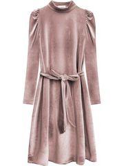 Amando Velúrové šaty s viazaním v páse 487ART ružové