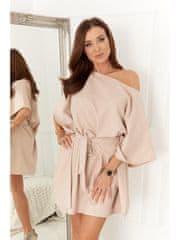 Amando Oversize šaty 0226 tmavo béžové