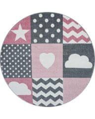 Ayyildiz AKCE: 160x160 cm Kusový koberec Kids 620 pink kruh