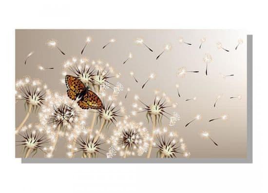 Dimex Obrazy na plátne Dimex - Púpavy s motýľom 90 x 50 cm