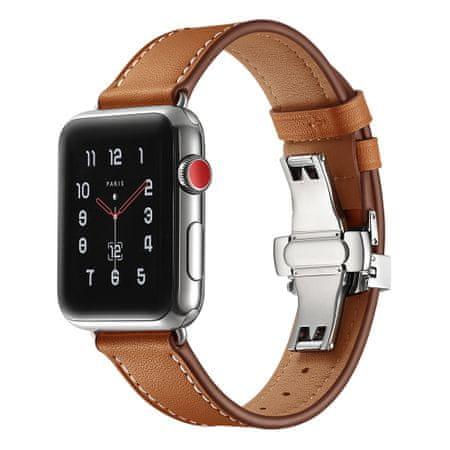 MAX nadomestni pašček za Apple Watch, 44 mm, MAS03, rjav, usnjen
