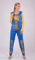 Vienetta Dámské pyžamo dlouhé Velká žirafa barva modrá