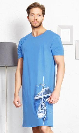 Stylomat Pánská noční košile s krátkým rukávem Tenisky barva modrá, velikost M