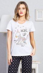 Vienetta Dámské pyžamo s krátkým rukávem Jednorožec barva světle šedá