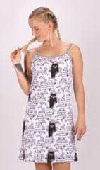 Vienetta Dámská noční košile na ramínka Černá kočka barva šedá
