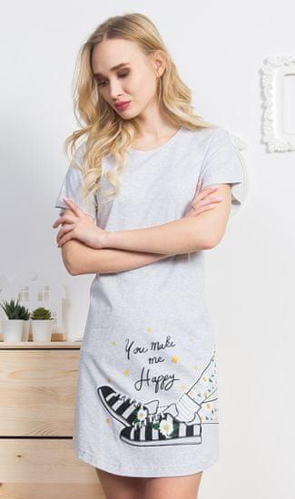 Vienetta Dámská noční košile s krátkým rukávem Tenisky barva světle šedá, velikost XXL
