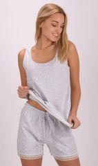 Vienetta Dámské pyžamo šortky na ramínka Helena barva světle šedá