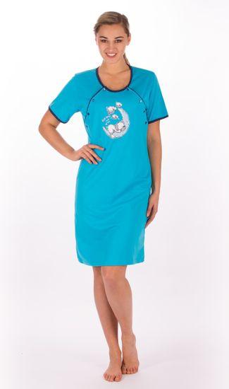 Vienetta Dámská noční košile mateřská s krátkým rukávem Štěně na měsíci barva tyrkysová, velikost M