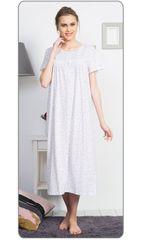 Vienetta Dámská noční košile s krátkým rukávem Ingrid barva bílá/lososová