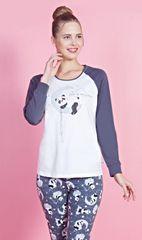 Stylomat Dámské pyžamo dlouhé Panda na měsíci barva šedá/bílá