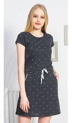 Vienetta Dámské domácí šaty s krátkým rukávem Peříčka barva tmavě šedá