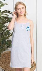 Vienetta Dámská noční košile na ramínka Hvězdička barva světle šedá