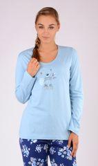Vienetta Dámské pyžamo dlouhé Méďa Gratulant barva světle modrá