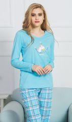 Stylomat Dámské pyžamo dlouhé Jednorožec barva tyrkysová