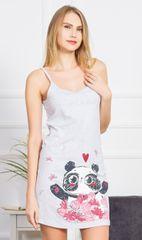 Vienetta Dámská noční košile na ramínka Panda barva světle šedá