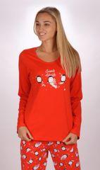 Stylomat Dámské pyžamo dlouhé Tučňáčci barva červená