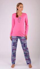 Vienetta Dámské pyžamo dlouhé Mazlíček barva tmavě růžová