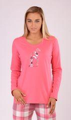 Vienetta Dámské pyžamo dlouhé Méďa s čepicí barva korálová