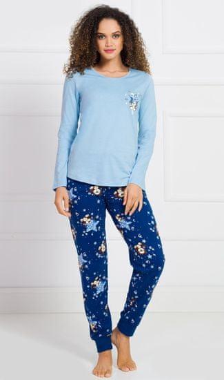 Stylomat Dámské pyžamo dlouhé Méďa s hvězdou barva světle modrá, velikost XL