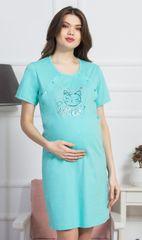 Vienetta Dámská noční košile mateřská Kočka barva mentolová