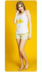 Vienetta Dámské pyžamo šortky na ramínka Citrony barva bílá