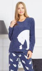 Vienetta Dámské pyžamo dlouhé Méďa a králík barva modrá
