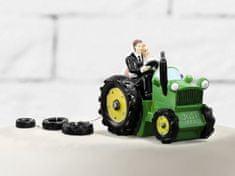 Paris Dekorace Svatební figurky ženich a nevěsta na traktoru