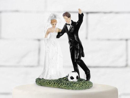 Paris Dekorace Svatební figurky ženich a nevěsta - fotbal