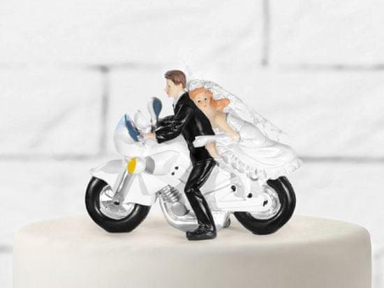 Paris Dekorace Svatební figurky ženich a nevěsta na motorce