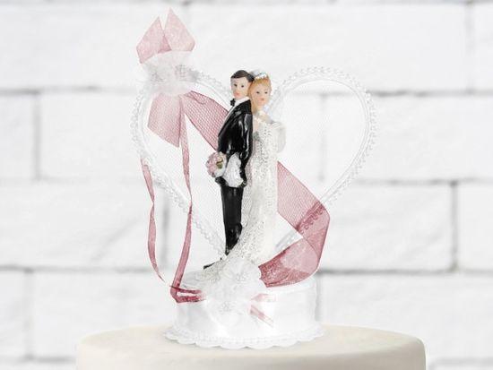 Paris Dekorace Svatební figurky ženich a nevěsta bílo-bordó