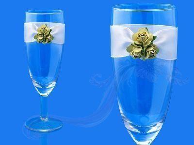 Paris Dekorace Skleničky na šampus se zelenými růžemi