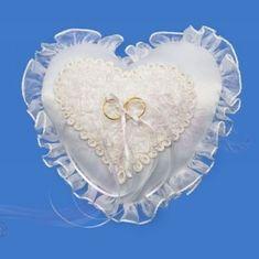 Paris Dekorace Polštářek na prstýnky ve tvaru srdce s krajkou