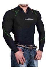 MadMax Kompresní triko s dlouhým rukávem se zipem MSW903 černozelené