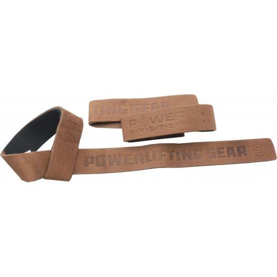 POWER SYSTEM Posilňovacie kožené trhačky Leather Straps hnedá