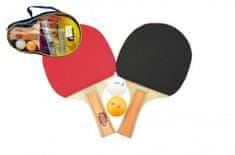 Teddies Sada stolní tenis/ping pong dřevěná 25cm s míčky v pouzdře