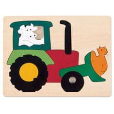 Hape Vkladacie puzzle Traktor
