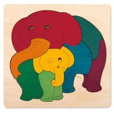 Hape Vkladacie puzzle Dúhoví sloníci